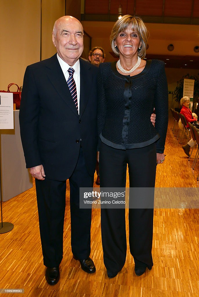 Vittoriano Faganelli (L) and Donatella Treu (R) attend the Sotheby's charity auction for FFC Onlus on January 23, 2013 in Milan, Italy.