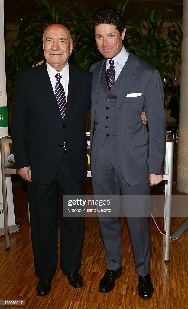 Vittoriano Faganelli (L) and Matteo Marzotto (R) attend the Sotheby's charity auction for FFC Onlus on January 23, 2013 in Milan, Italy.