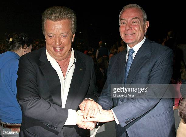 Vittorio Cecchi Gori and Gianni Letta attend the 'Tutto Dante' performance by Roberto Benigni at Teatro Tenda on April 20 2007 in Rome Italy