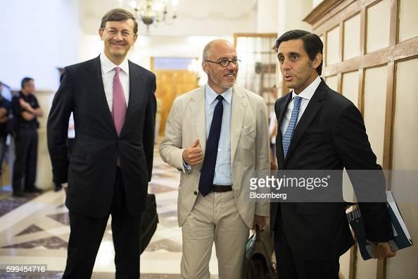 Vittorio Colao chief executive officer of Vodafone Group Plc left Stephane Richard chief executive officer of Orange SA center and Jose Maria...