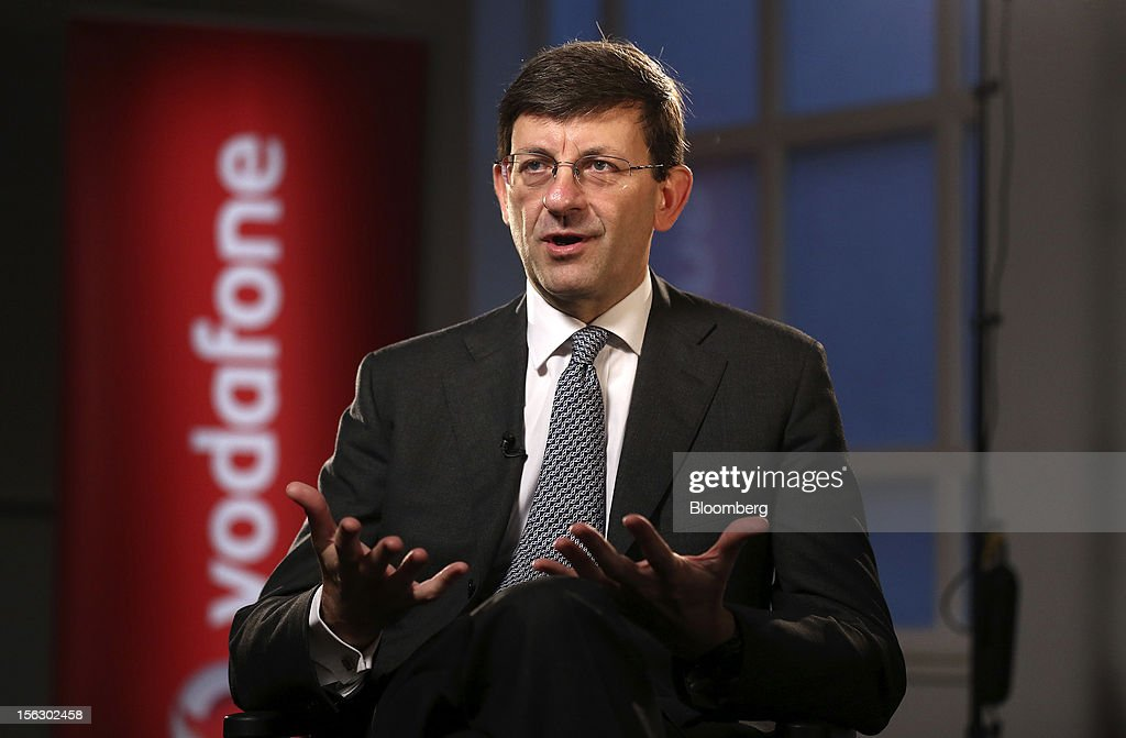 Vittorio Colao, chief executive officer of Vodafone Group Plc, speaks during a Bloomberg Television in London, U.K., on Tuesday, Nov. 13, 2012. Vodafone Group Plc, the second-largest mobile-phone company, reported service revenue that missed analysts' estimates and took a 5.9 billion pound ($9.4 billion) impairment writedown in Spain and Italy. Photographer: Simon Dawson/Bloomberg via Getty Images