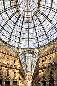 Glass dome of Galleria Vittorio Emanuele II in Milan, Italy