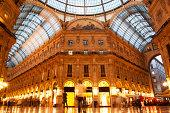 Vittorio Emanuele II Gallery interior in Milan. Lombardy, Italy.