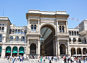 Shopping mall of Galleria Vittorio Emanuele II in Milan Italy. Almost all famous brands are listed here.
