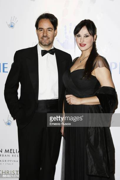 Vittorio Palazzi Trivelli and Isabelle Adriani arrive for the Children for Peace Gala Dinner at Cardinal Gallery on December 2 2017 in Rome Italy
