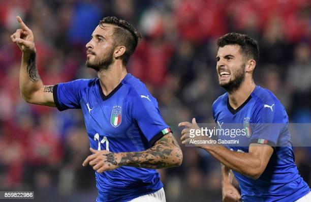 Vittorio Parigini of Italy U21 celebrates after scoring the opening goal during the international friendly match between Italy U21 and Morocco U21 at...