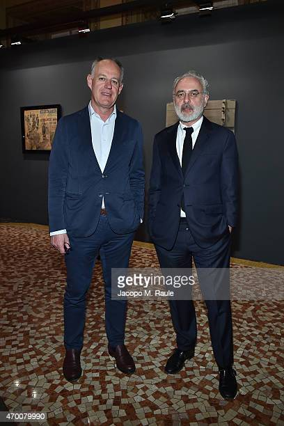 Vittorio Radice and Francesco Bonami attend Phillips private dinner and preview of selected works from 'The Great Wonderful' 100 Years Of Italian Art...