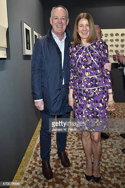 Vittorio Radice and Karla Otto attend Phillips private dinner and preview of selected works from 'The Great Wonderful' 100 Years Of Italian Art...