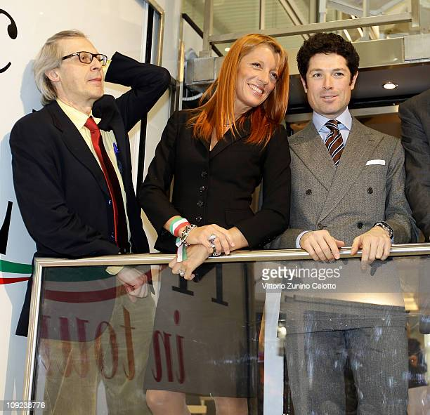 Vittorio Sgarbi Michela Vittoria Brambilla Matteo Marzotto attend the 2011 BIT International Tourism Exchange at Fieramilano on February 17 2011 in...