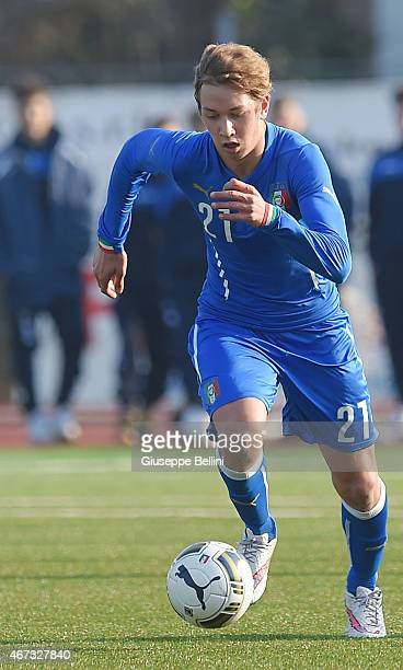 Vittorio Vigolo of Italy in action during the international friendly match between U16 Italy and U16 Germany on March 18 2015 in Recanati Italy