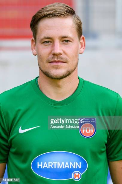 Vitus Eicher of 1 FC Heidenheim poses during the team presentation at Voith Arena on July 8 2017 in Heidenheim Germany