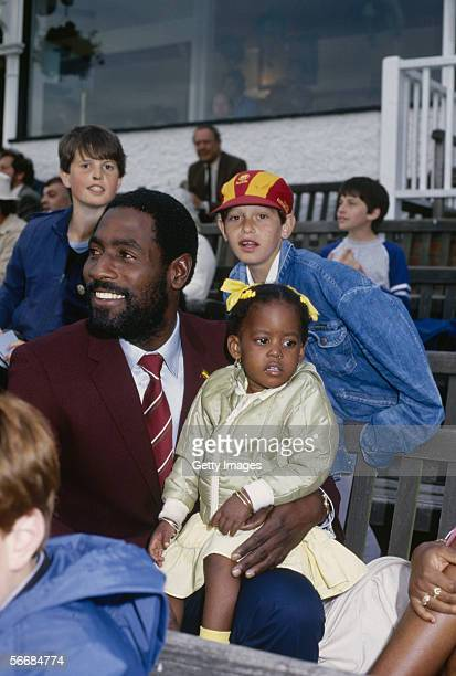 Viv Richards of the West Indies with his daughter during the Cicket World Cup 1983 held in June 1983 in England