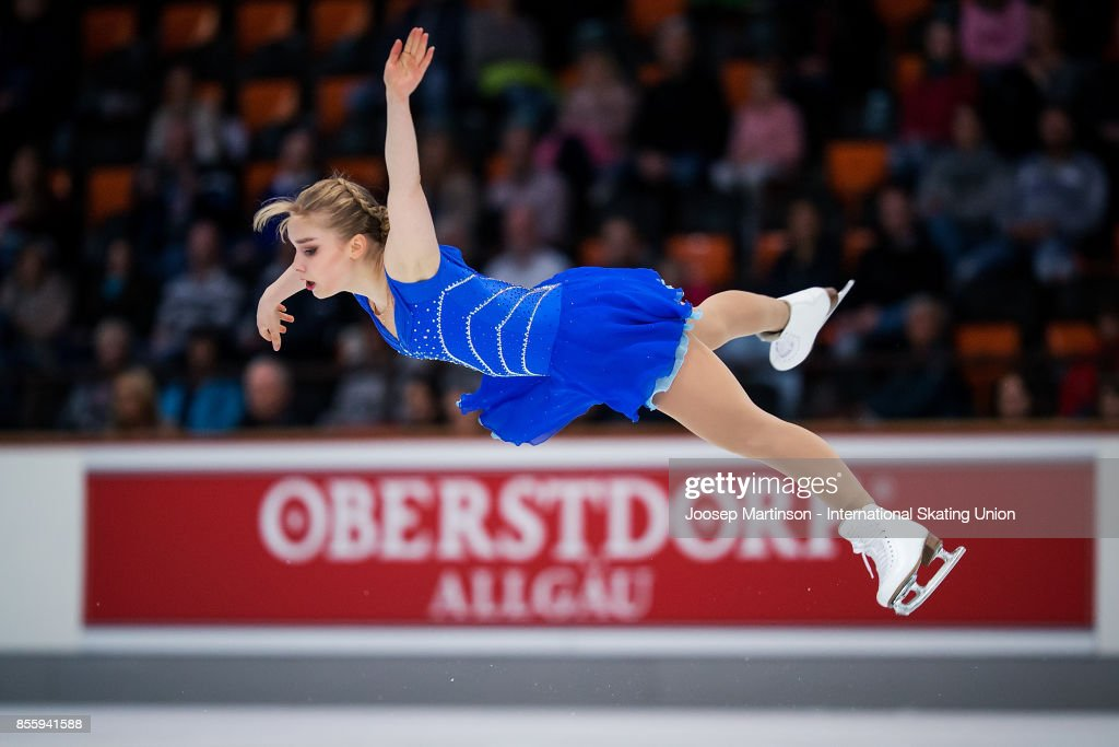 Viveca Lindfors of Finland competes in the Ladies Free Skating during the Nebelhorn Trophy 2017 at Eissportzentrum on September 30, 2017 in Oberstdorf, Germany.