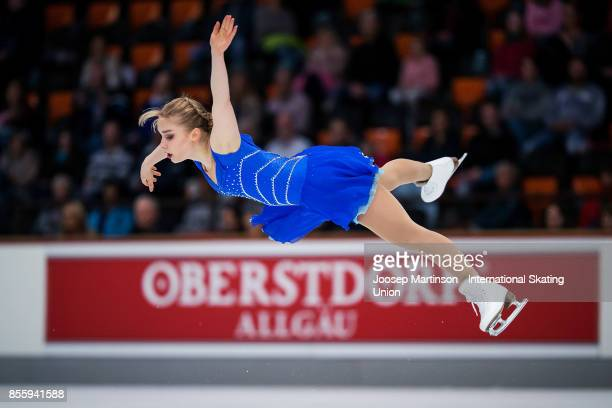 Viveca Lindfors of Finland competes in the Ladies Free Skating during the Nebelhorn Trophy 2017 at Eissportzentrum on September 30 2017 in Oberstdorf...