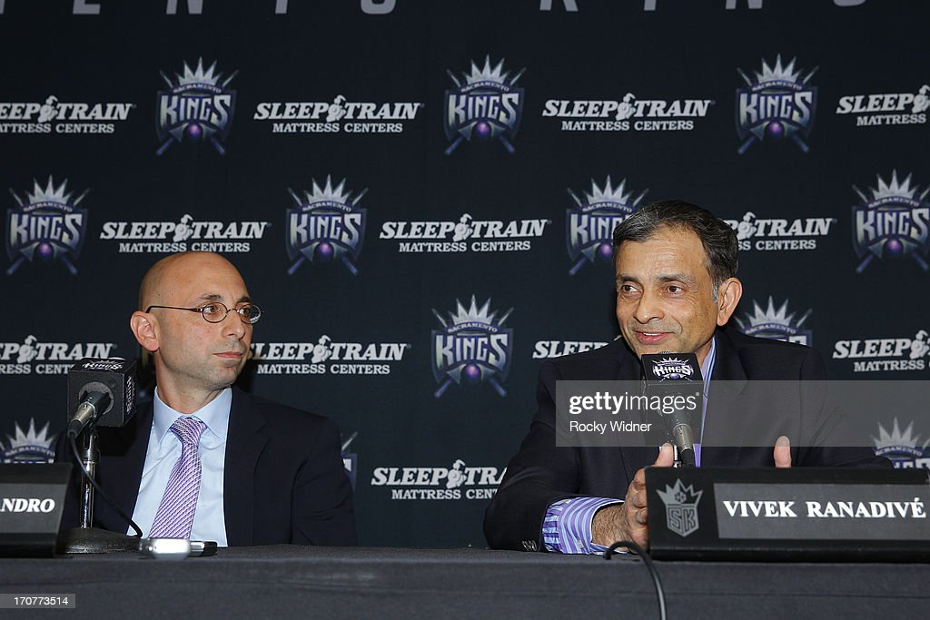 Vivek Ranadive addresses the media as he announces Pete D'Alessandro as the new General Manager of the Sacramento Kings on June 17, 2013 at Sleep Train Arena in Sacramento, California.
