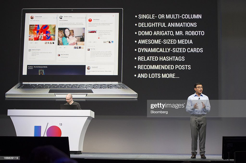 Vivek 'Vic' Gundotra, senior vice president of engineering at Google Inc., right, speaks during the Google I/O Annual Developers Conference in San Francisco, California, U.S., on Wednesday, May 15, 2013. Google Inc. introduced a subscription music-streaming service, one of several product updates to be unveiled at a developer meeting this week as the search provider seeks to attract more users and advertisers. Photographer: David Paul Morris/Bloomberg via Getty Images