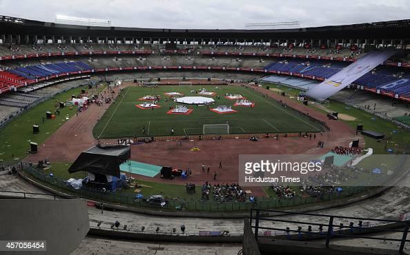 Vivekananda Yubabharati Kriranganis ready to host the first ever ISL football tournament at Salt Lake stadium as rehearsal of the inaugural function...