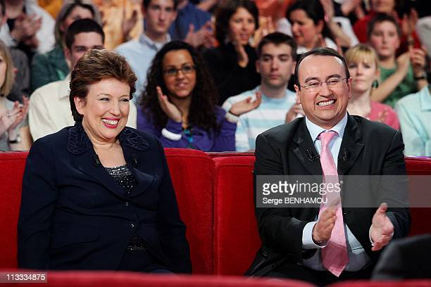 'Vivement Dimanche' Tv Show In Paris France On March 26 2008 Roselyne Bachelot and her son Pierre