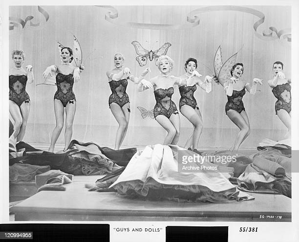 Vivian Blaine and unidentified actresses perform in a scene from the film 'Guys And Dolls' 1955
