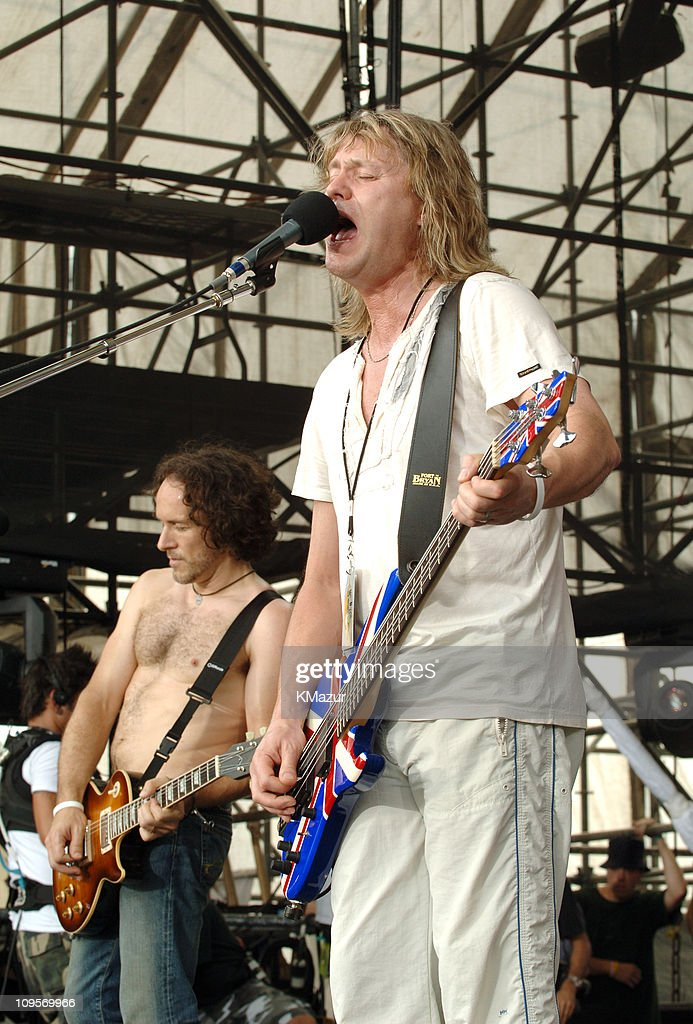 Vivian Campbell and Rick Savage of Def Leppard during LIVE 8 - Philadelphia - Rehearsals at Philadelphia Museum of Art in Philadelphia, Pennsylvania, United States.