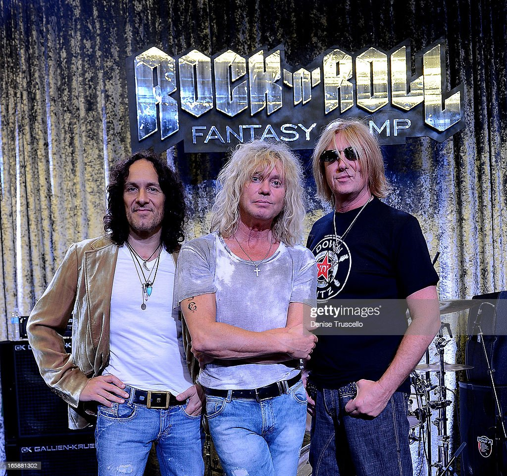 Vivian Campbell, Rick Savage and Joe Elliott of Def Leppard attend Rock 'n' Roll Fantasy Camp on April 6, 2013 in Las Vegas, Nevada.