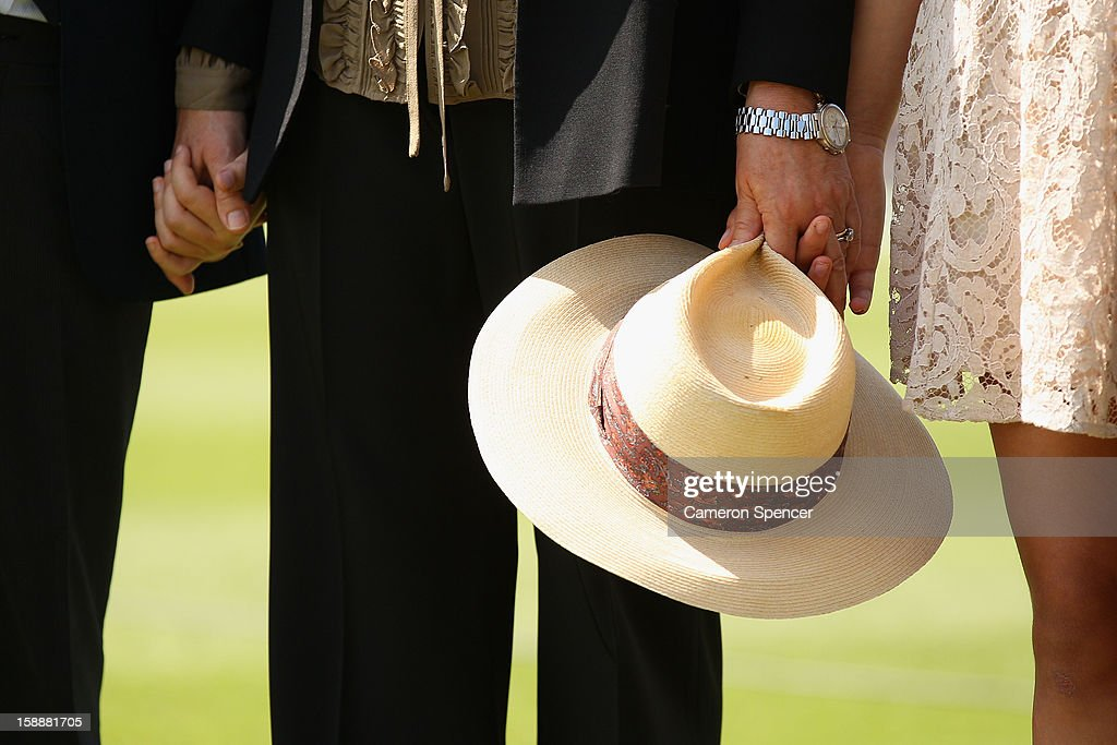 Vivian Greig holds the hat of her late husband, Tony Greig as she watches a tribute to Tony prior to play during day one of the Third Test match between Australia and Sri Lanka at Sydney Cricket Ground on January 3, 2013 in Sydney, Australia. Tony Greig was a former England test captain turned commentator who died of a heart attack on the 29th of December at age 66.