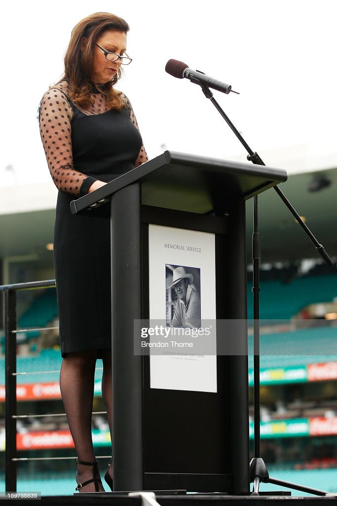 Vivian Greig speaks on stage during the Tony Greig memorial service at Sydney Cricket Ground on January 20, 2013 in Sydney, Australia.