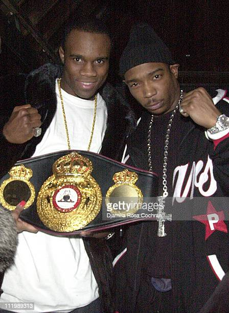 Vivian Harris WBA world champ and Ja Rule during Source Magazine Party at Sessa in New York City New York United States