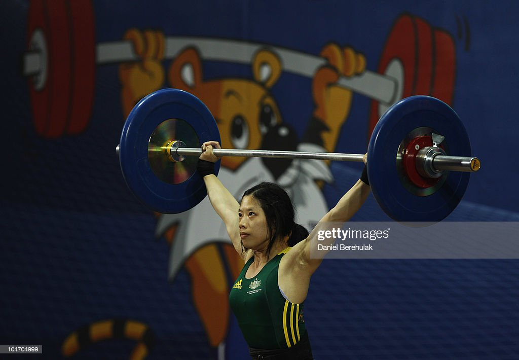 Vivian Lee of Australia competes in the Womens 48 kg weightlifting final during day one of the Delhi 2010 Commonwealth Games at Jawaharlal Nehru Sports Complex on October 4, 2010 in Delhi, India.