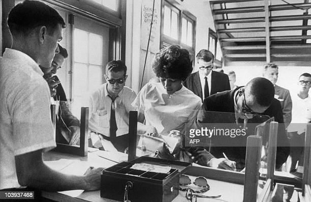 Vivian Malone and James Hood two Black students register at the Alabama University 12 June 1963 in Tuscaloosa In June 1963 a federal court barred any...