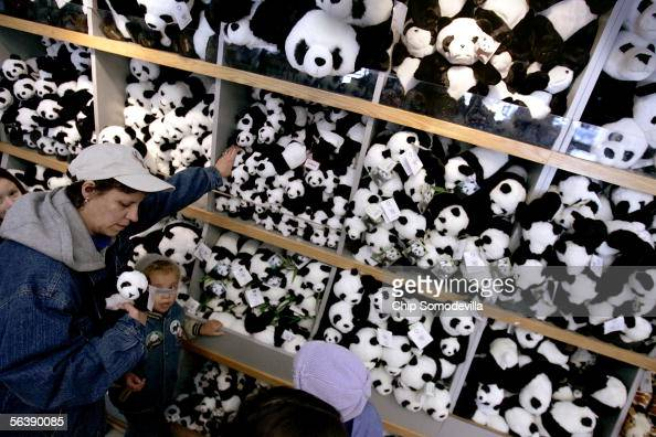 Vivian Pesante of Odenton Maryland looks at a display of plush pandas to pick some out for her children at Smithsonian National Zoological Park's...