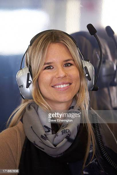 Vivian Sibold the girlfriend of Nico Rosberg of Germany and Mercedes GP is seen in his team garage during qualifying for the British Formula One...