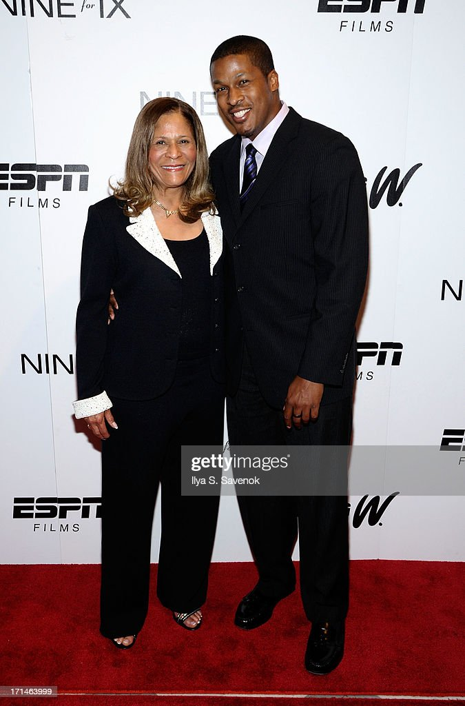 C. Vivian Stringer (R) and son Justin Stringer attend 'Venus Vs.' and 'Coach' New York Special Screenings at Paley Center For Media on June 24, 2013 in New York City.