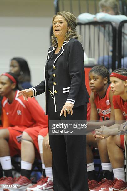 C Vivian Stringer head coach of Rutgers Scarlet Knights looks on during a women's college basketball game against the George Washington Colonials on...