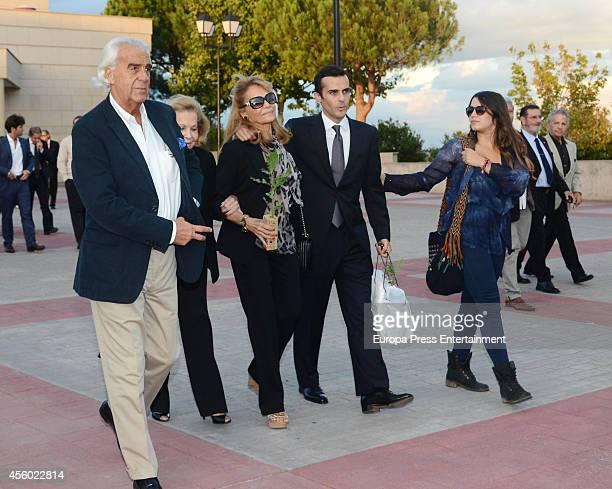 Vivian Tablada and Elena Tablada attend the funeral chapel for Rafael Lozano on September 23 2014 in Madrid Spain