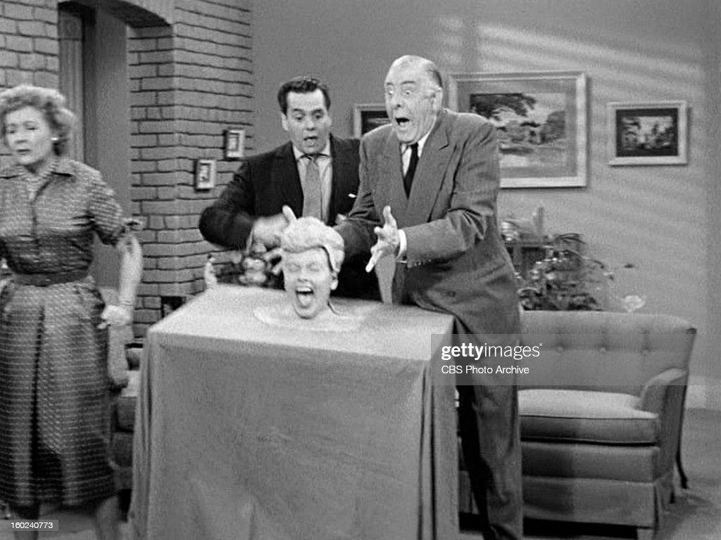 Vivian Vance as Ethel Mertz, Desi Arnaz as Ricky Ricardo, Lucille Ball as Lucy Ricardo and Shepard Menken as William Abbott in the I LOVE LUCY episode, 'Lucy Becomes a Sculptress.' Season 2, episode 15. Original air date, January 12, 1953. Image is a screen grab.