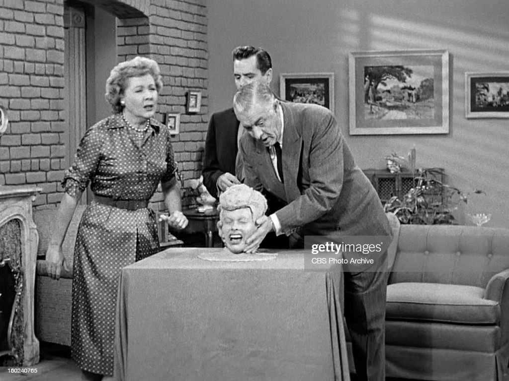 Vivian Vance as Ethel Mertz, Lucille Ball as Lucy Ricardo, Desi Arnaz as Ricky Ricardo and Shepard Menken as William Abbott in the I LOVE LUCY episode, 'Lucy Becomes a Sculptress.' Season 2, episode 15. Original air date, January 12, 1953. Image is a screen grab.