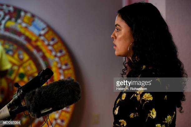 DENVER CO OCTOBER 16 Viviana Andazola Marquez right speaks to members of the press at Meyer Law Office on October 16 2017 in Denver Colorado On...