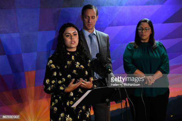 DENVER CO OCTOBER 16 Viviana Andazola Marquez with her attorney Hans Meyer of Meyer Law Office middle and policy director Julie Gonzales right speaks...