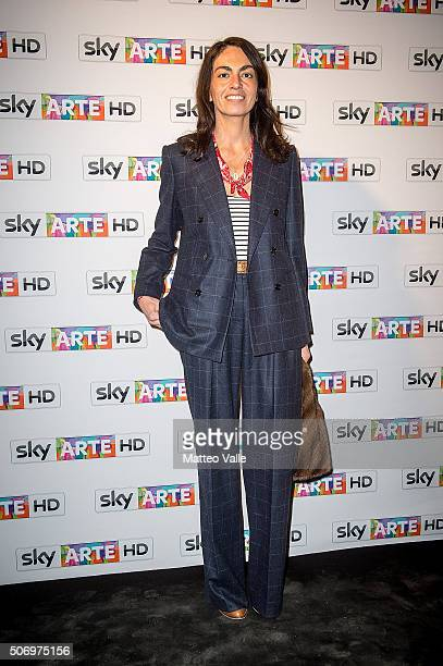Viviana Volpicella attends a photocall for Franco Battiato concert for Sky Arte at HangarBicocca on January 26 2016 in Milan Italy