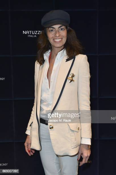 Viviana Volpicella attends Natuzzi 'United For Armony' cocktail party during Milan Design Week on April 5 2017 in Milan Italy