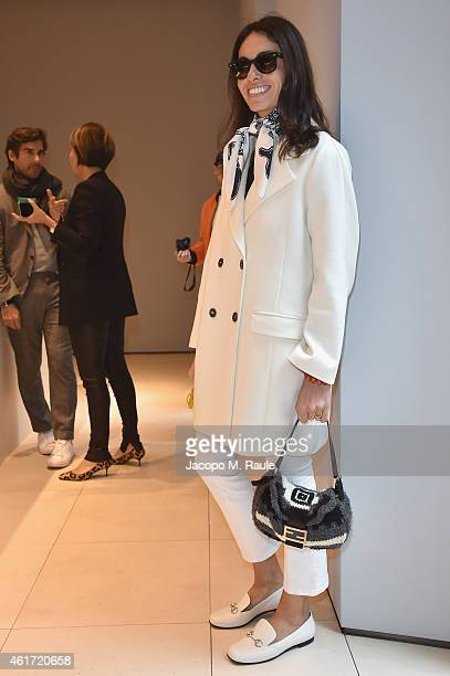 Viviana Volpicella attends the Valextra presentation during the Milan Menswear Fashion Week Fall Winter 2015/2016 on January 18 2015 in Milan Italy