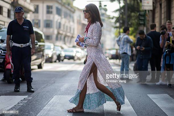 Viviana Volpicella during Milan Fashion Week Spring/Summer 16 on September 26 2015 in Milan Italy