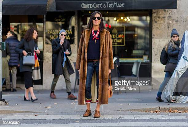 Viviana Volpicella during Milan Men's Fashion Week Fall/Winter 2016/17 on January 16 in Milam Italy