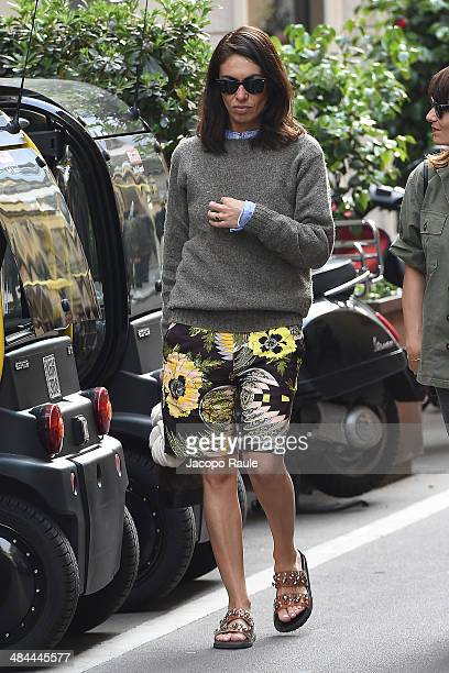 Viviana Volpicella is seen on April 12 2014 in Milan Italy