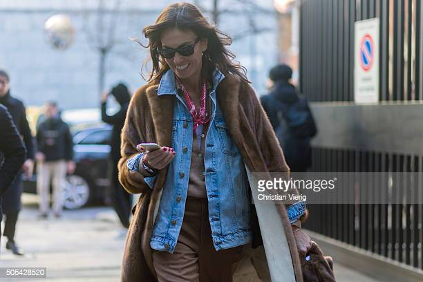 Viviana Volpicella outside at No21 during Milan Men's Fashion Week Fall/Winter 2016/17 on January 17 in Milan Italy