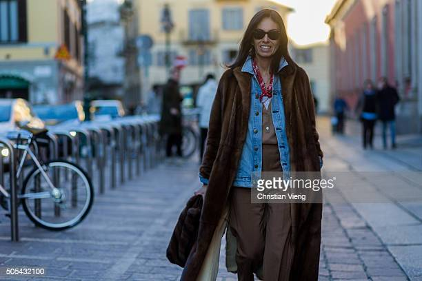 Viviana Volpicella outside Missoni during Milan Men's Fashion Week Fall/Winter 2016/17 on January 17 in Milan Italy