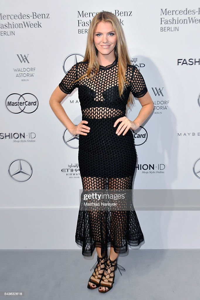 Viviane Geppert attends the Guido Maria Kretschmer show during the Mercedes-Benz Fashion Week Berlin Spring/Summer 2017 at Erika Hess Eisstadion on June 29, 2016 in Berlin, Germany.