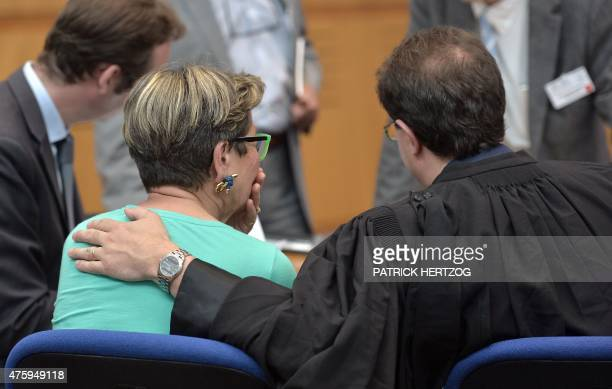 Viviane Lambert reacts after a hearing in the case of her son Vincent a quadriplegic man who is currently on artificial life support in a hospital in...