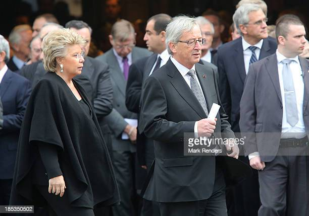 Viviane Reding and Luxembourg Prime Minister Claude Juncker attend the State Funeral of the late Belgian Prime Minister Wilfried Martens at Sint...